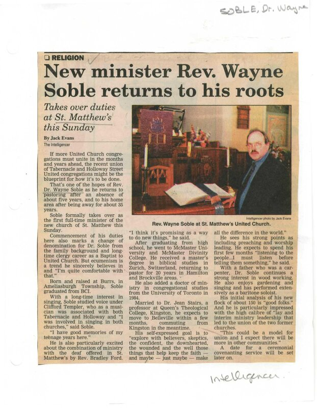 New Minister Rev Wayne Soble returns to his roots