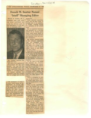 """Donald M. Soutter named """"Intell""""  Managing Editor"""