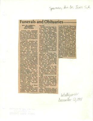 Funerals and Obituaries: Rev. Dr. James S. A. Spearman