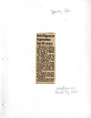 Intelligencer typesetter for 49 years