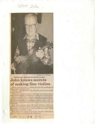 John knows secrets of making fine violins