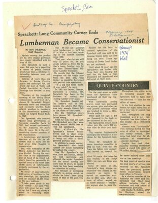 Sprackett: Long community career ends Lumberman became Conservationist
