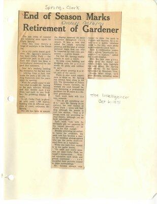 End of season marks retirement of gardener