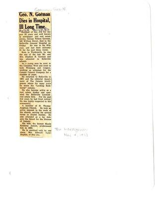 Geo. N. Gorman Dies in Hospital, Ill Long Time