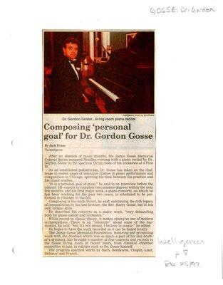Composing 'personal goal' for Dr. Gordon Gosse