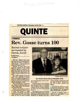 Rev. Gosse turns 100