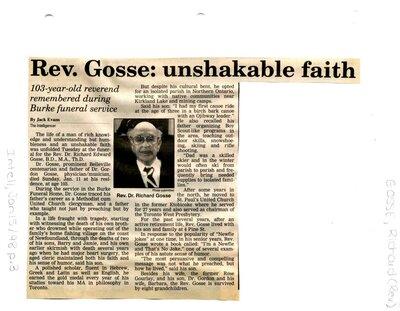 Rev. Gosse: unshakable faith
