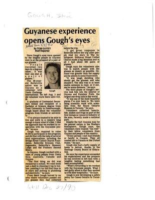 Guyanese experience opens Gough's eyes