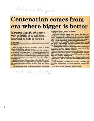 Centenarian comes from era where bigger is better