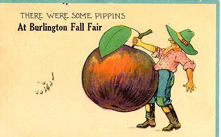 Burlington Fall Fair -- Illustration of man with apple; postmarked October 2, 1913