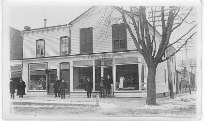 Allen's Hardward -- Exterior, with 7 people in front