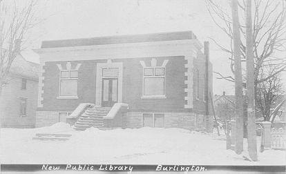 New Public Library, Burlington -- Exterior with snow; postmarked & dated March 28, 1907 (?)