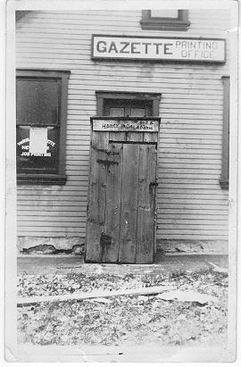 Gazette Printing Office -- Exterior; postmarked / dated November 9, 1901 (?)