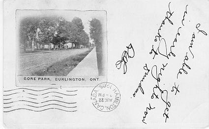 Gore Park, Burlington, Ont. -- small picture, handwritten caption; postmarked August 22, 1905