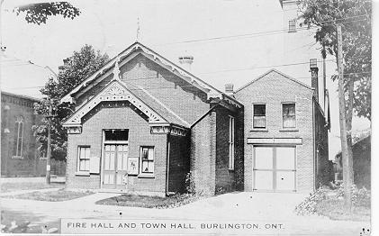 Fire Hall & Town Hall, Burlington, Ont -- Exterior; postmarked 1925 (?)