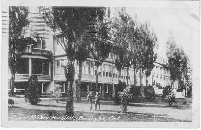 Brant Military Hospital, Burlington, Ont.  -- Exterior, 2 men near west end; postmarked August 29, 1918