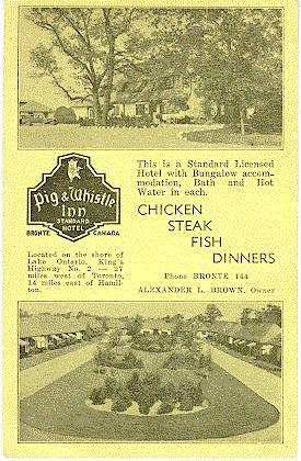 Pig & Whistle Inn -- Exterior, 2 views. Hotel logo on left-hand side