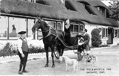 The Pig & Whistle Inn, Bronte, Ont. -- Exterior, horse and trap