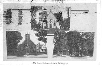 Churches in Burlington, Ontario, Canada -- Exteriors of 3 churches; postmarked August 18, 1948