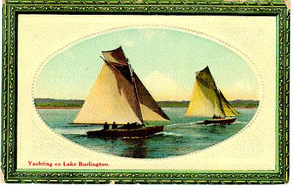 Yachting on Lake Burlington -- 2 sailboats in oval picture; postmarked May 18, 1911