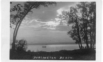 Burlington Beach -- view of a lone boat