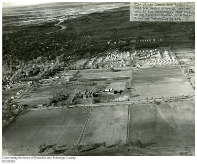 Aerial view of the County Home property and the Docter property