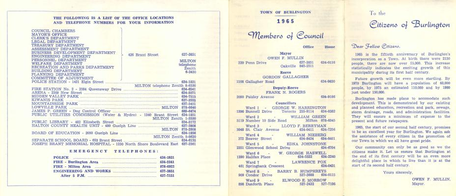 Town of Burlington-Members of Council, 1965