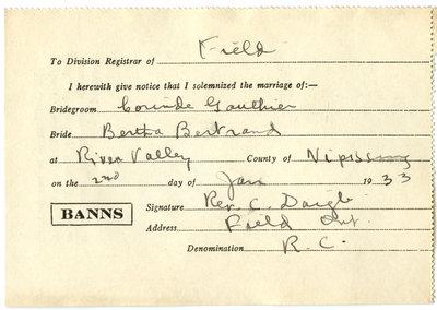 Certificat de mariage de / Marriage certificate of   Corinde Gauthier et Bertha Bertrand