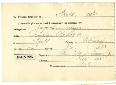 Certificat de mariage de / Marriage certificate of Joachim Major & Léa Rochefort