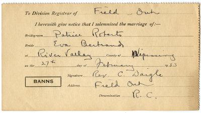 Certificat de mariage de / Marriage certificate of Patrice Roberts & Eva Bertrand