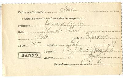 Certificat de mariage de / Marriage certificate of Édouard Séguin & Blanche Rivet