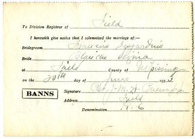 Certificat de mariage de / Marriage certificate of François Desjardins & Blanche Vézina