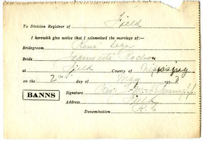 Certificat de mariage de / Marriage certificate of René Léger & Jeannette Rochon