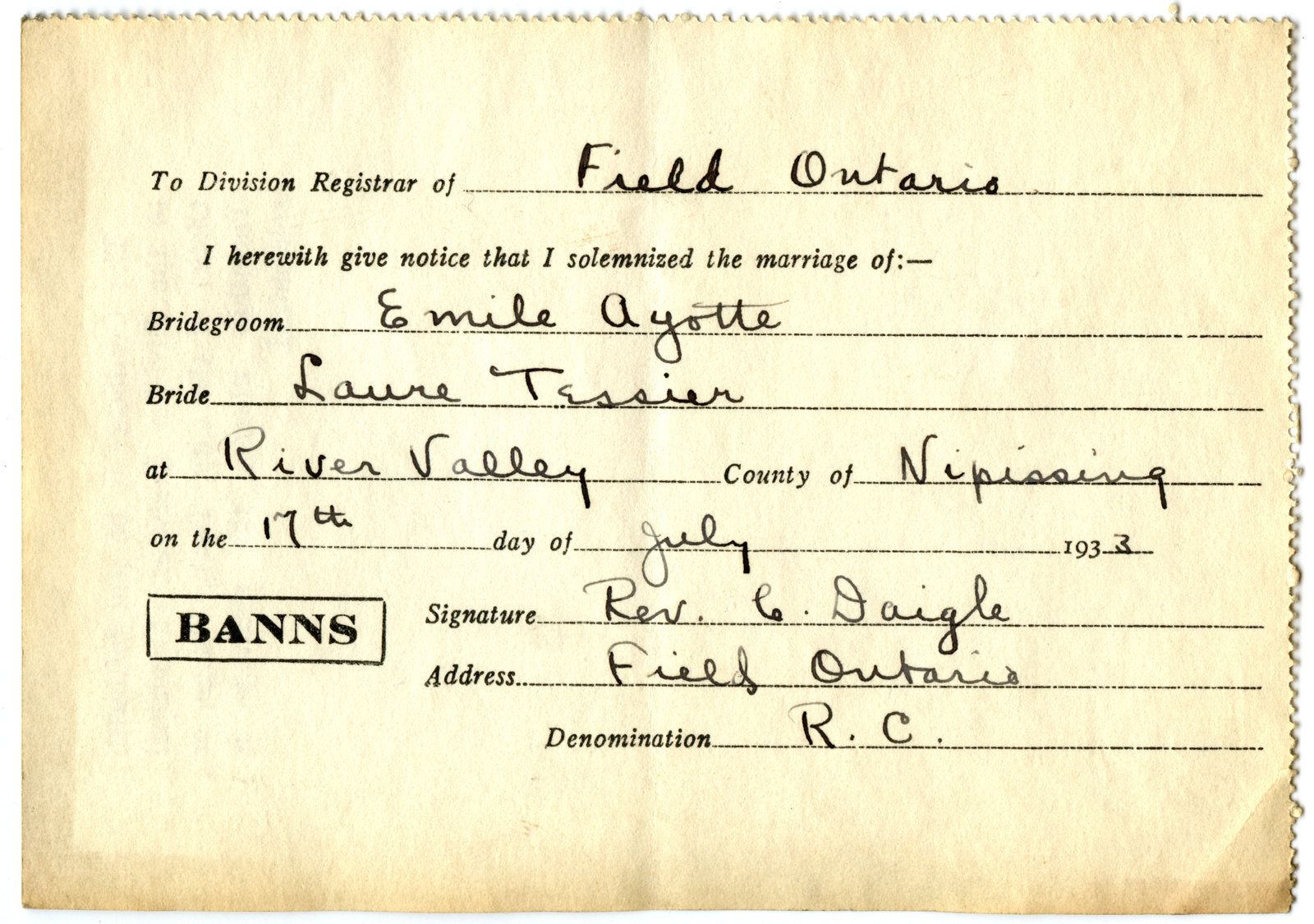 Certificat de mariage de / Marriage certificate of Émile Ayotte & Laure Tessier