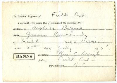 Certificat de mariage de / Marriage certificate of Orpheda Bigras & Jeanne Bertrand