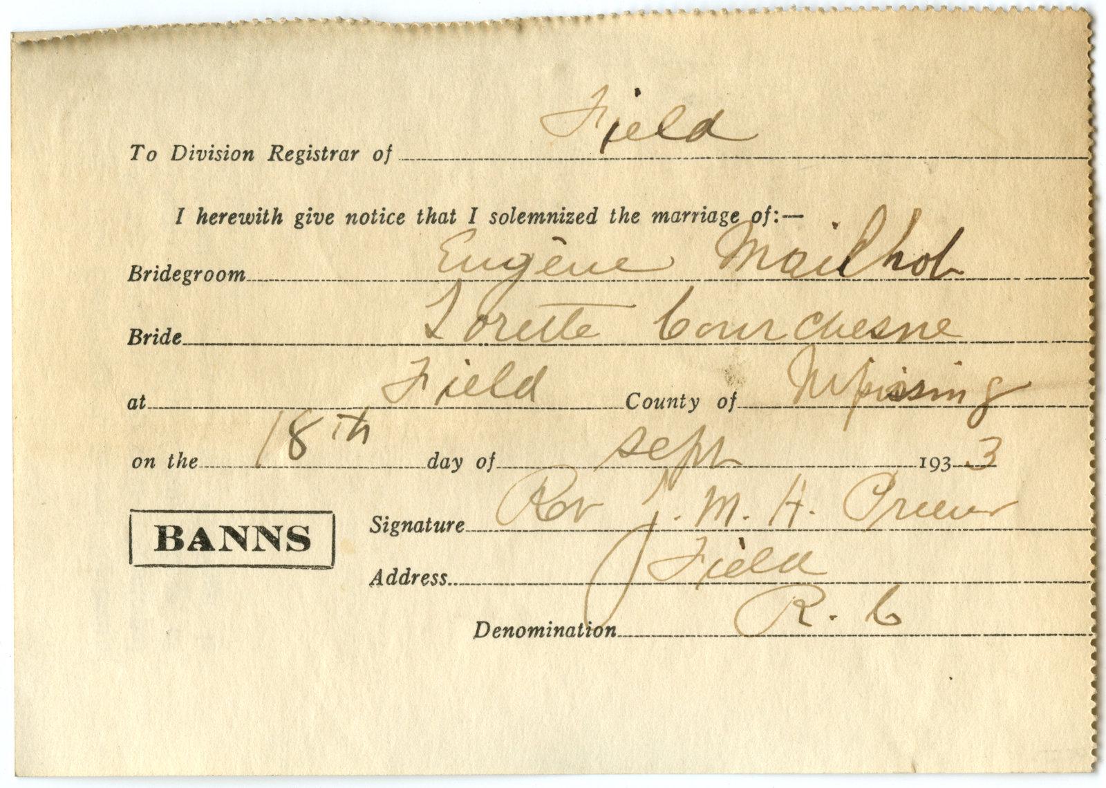 Certificat de mariage de / Marriage certificate of Eugène Mailhob & Lorette Courchesne