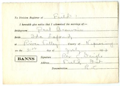 Certificat de mariage de / Marriage certificate of Paul Beauvais & Ida Lafond