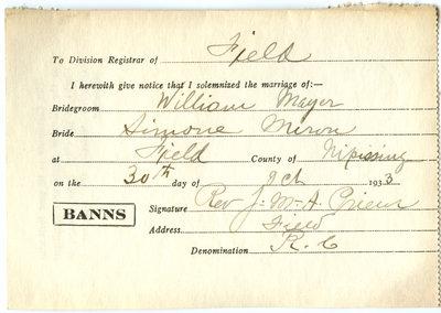 Certificat de mariage de / Marriage certificate of William Mayer & Simone Miron