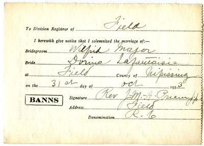 Certificat de mariage de / Marriage certificate of Wilfrid Major & Dorina Lafantaisie