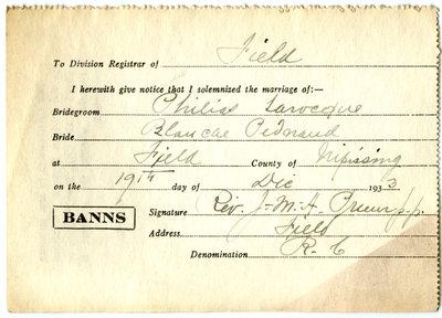 Certificat de mariage de / Marriage certificate of Philias Larocque & Blanche Pednaud