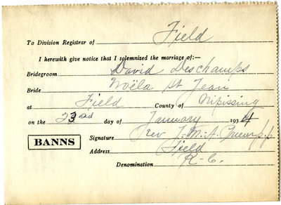Certificat de mariage de / Marriage certificate of David Deschamps & Noëla St-Jean