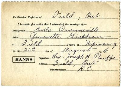 Certificat de mariage de / Marriage certificate of Ovila Quenneville & Jeannette Girardeau