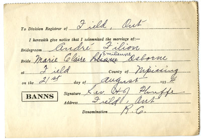 Certificat de mariage de / Marriage certificate of André Filion & Marie Claire Emilienne Osborne