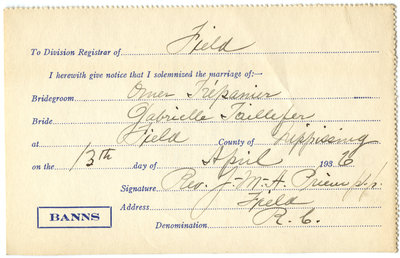 Certificat de mariage de / Marriage certificate of Omer Trépanier & Gabrielle Taillefer