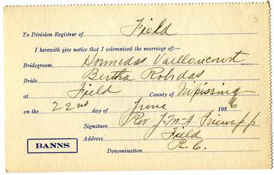 Certificat de mariage de / Marriage certificate of Hormidas Vaillancourt & Bertha Robidas