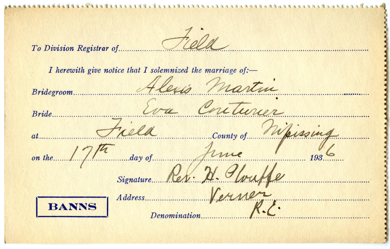 Certificat de mariage de / Marriage certificate of Alexis Martin & Eva Couturier