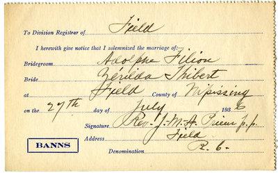 Certificat de mariage de / Marriage certificate of Adolphe Filion & Zérilda Thibert
