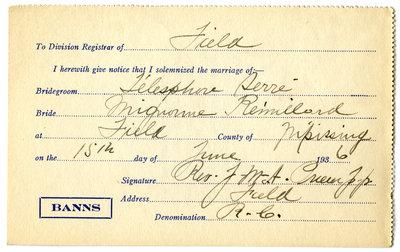 Certificat de mariage de / Marriage certificate of Télesphore Serré & Mignonne Rémillard