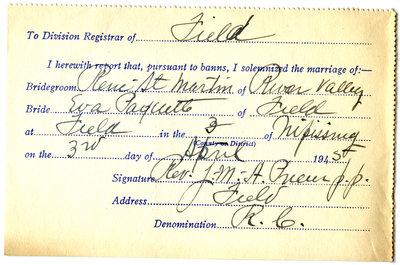 Certificat de mariage de / Marriage certificate of René St-Martin & Eva Paquette