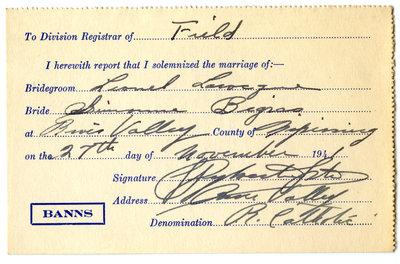 Certificat de mariage de / Marriage certificate of Lionel Larocque & Simone Bigras